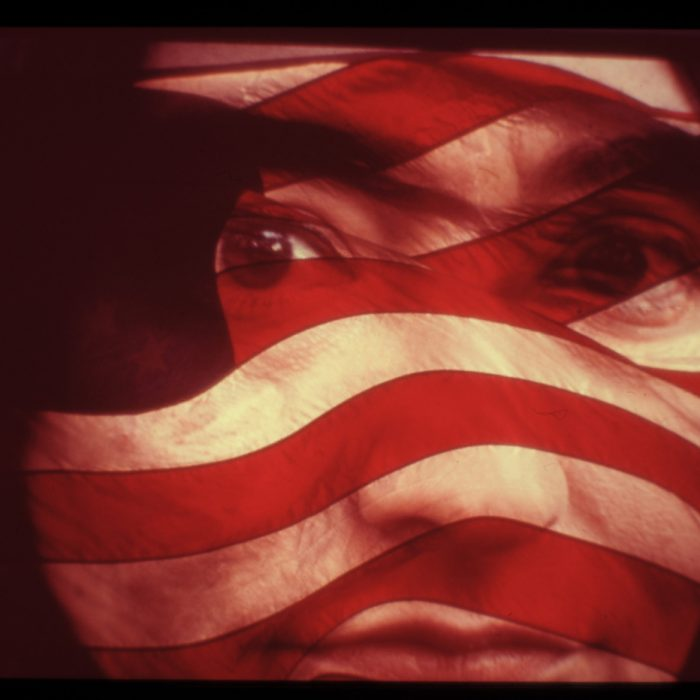 American woman double exposure