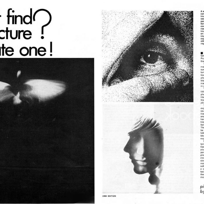 Photo and copy for 1968 <em>Pop Photo</em> article on experimental camera and photo techniques