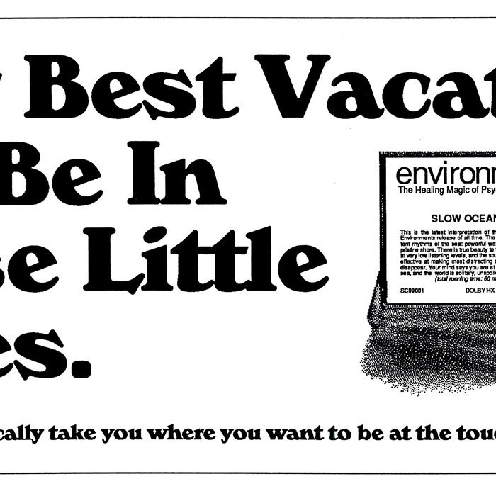 'Your Best Vacations' ad for <em>Environments</em> tapes