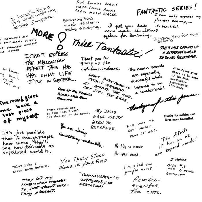 Collage of hand-written listener feedback