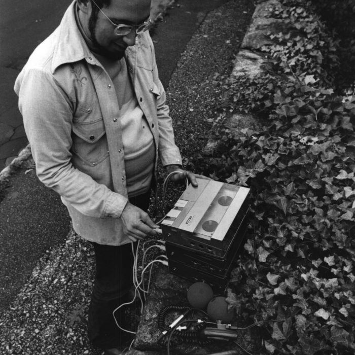 Setting up the portable studio in 1969