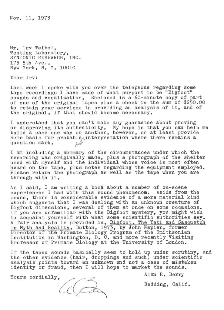 Letters irv teibel archive request to verify alleged bigfoot tape spiritdancerdesigns Image collections
