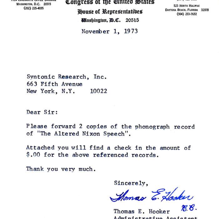 Nixon Tape order from Florida Representative Chappell